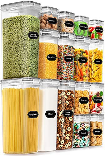 PRAKI Airtight Food Storage Container Set, 16 PCS BPA Free, Leek Proof Plastic Storage Containers with Lids for Kitchen Pantry Organization and Cereal, Flour, Snack with 20 Labels & Marker (Grey)