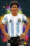 Elliot Dorothy Decoración de pared con diseño de estrella de fútbol, 61 x 91 cm, impresión sobre lienzo de Diego Maradona Argentina, para oficina, sala de estar, decoración del hogar, sin marco
