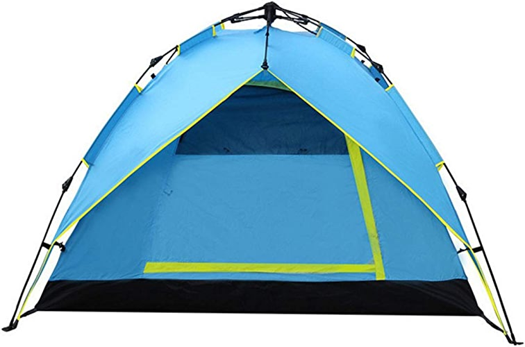 Sakuldes Tente de Camping pour 3-4 Personnes pour Le Camping en Plein air avec des poteaux imperméables en Fibre de Verre Double Couche (Couleur   bleu, Taille   3-4P)