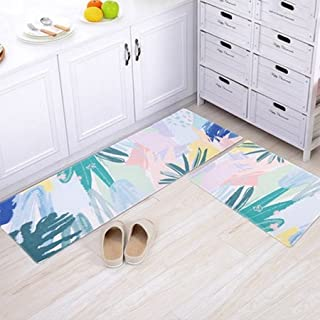 Area Rugs Carpets Anti-Slip Carpets Plant Leaves Print Mats Bathroom Floor Kitchen Rugs for Home Living Room Floor Mats 60...
