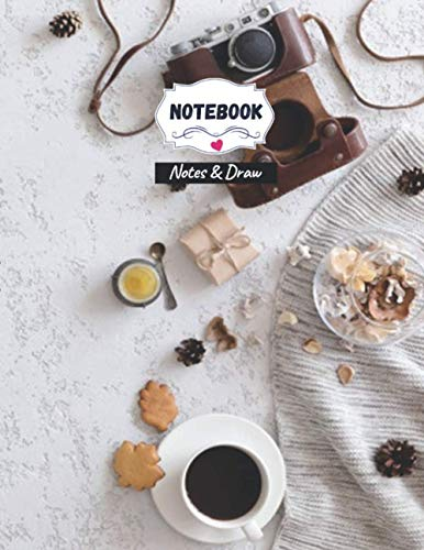 Notes and Draw Notebook for note ideas, Vintage flat lay top view retro camera flowers knitted clothes office plaster desk table autumn background cover, 120 pages - Large(8.5 x 11 inches)