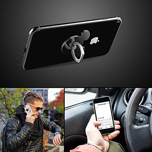 by SPCEUTOH Cell Phone Ring Holder 2 Pack BlackSilver High Viscosity Finger Stand Grip Reusable Washable 360 Rotation Universal Smartphone Kickstand for iPhone ipad Samsung Google HTC Most