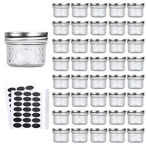 Accguan Mini Mason Jars Glass Canning Jars,4 OZ Jelly Jars With Regular Lids(Silver),Ideal for Honey,Jam,Wedding Favors,Shower Favors,Baby Foods,Small Pice Jars 40 PACK