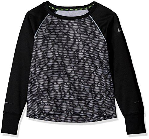 Nike Kinder Epic Flash Crew Fleece Trainingsshirt Shirt, schwarz/Weiß/Grau, M/137-146 cm