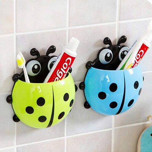 heDIANz Cute Ladybug Cepillo De Dientes Soporte Succión Ladybird Pasta De Dientes Succionador De Pared Conjuntos De Herramientas De Baño Rojo