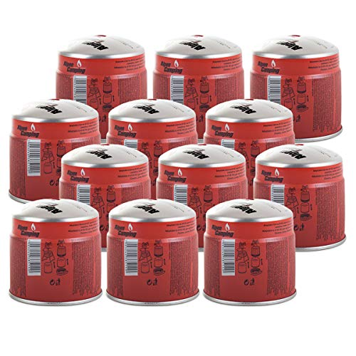Alpentech Pack of 12 Gas Cartridges 190g Butane Propane Drillable Safety Stop Gas