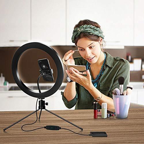 Juego de anillos de luz de 10 pulgadas, 3 colores regulables con trípode y soporte para teléfono, luz circular USB para luz de llenado, teléfono celular, selfie, video de tiro