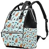 Bolsa de pañales multifuncional portátil para el cuidado del bebé, resistente al agua, gran capacidad, elegante y duradero Gatos sentados marrones con cuencos Talla:27x19.8x36.5cm/10.6x7.8x14in