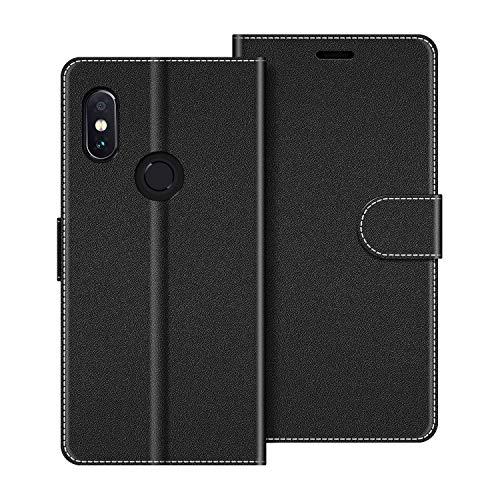 COODIO Handyhülle für Xiaomi Redmi Note 5 Handy Hülle, Xiaomi Redmi Note 5 Hülle Leder Handytasche für Xiaomi Redmi Note 5 Klapphülle Tasche, Schwarz