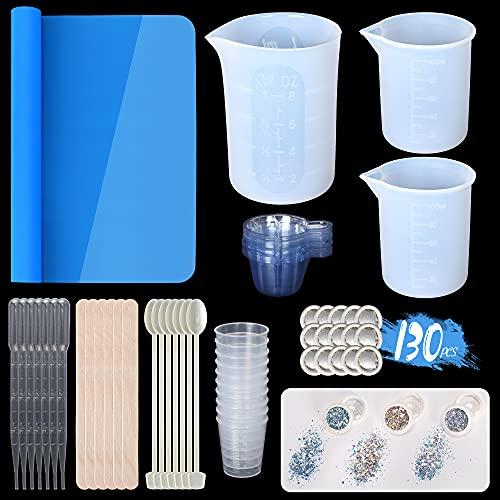 ANSUE Vasos medidores de silicona para resina epoxi, 250 ml grandes de resina reutilizables, kit de herramientas de resina de 130 piezas con alfombrilla de silicona y purpurina gruesa holográfica.