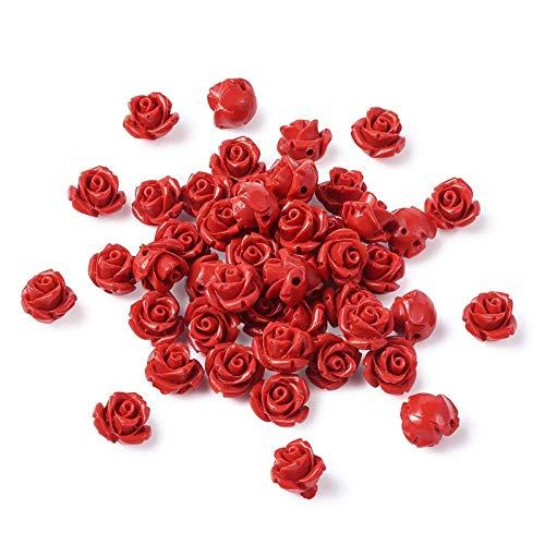 YuuHeeER Cuentas de cinnabar con diseño de rosa roja, espaciador de flores...