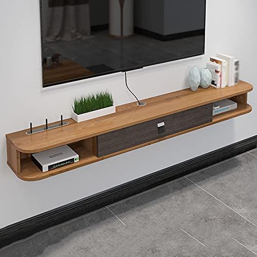 Mobile TV a parete, mobile TV sospeso, rack per set-top box in legno massello da parete TV, rack mobile per componenti TV, grande capacità, stabile e durevole/A / 120 * 24 * 16cm