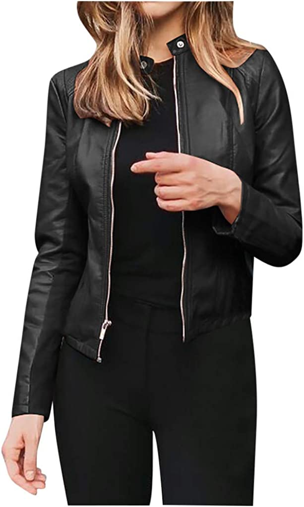 Women's Simple and Casual Long Sleeve Short Leather PU Biker Coat Stand-up Collar with Front Zipper