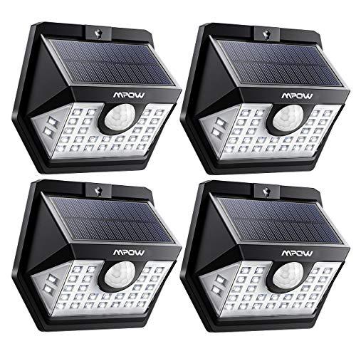 Mpow Luz Solar 3-8M Deteccion, 270° Gran Angular de Iluminación, 3 Modos Lámpara Solar,Sensor de Movimiento, Foco Solar Impermeables IP65 de Exterior para Patio, Garaje, Camino, Jardín