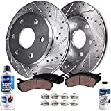 Detroit Axle - 2WD 6-Lug Front Drilled and Slotted Disc Rotors + Brake Pads Replacement for Ford F-150 Lincoln Mark LT - 6pc Set