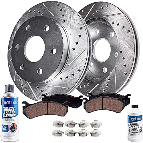 Detroit Axle - 4WD Front Drilled and Slotted Disc Rotors Brake Pads Replacement for Chevy GMC K1500 K2500 Pickup Suburban Tahoe Yukon Escalade - 6pc Set