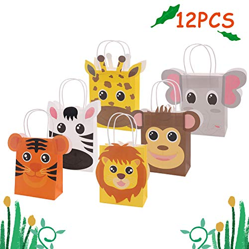 Jungle Safari Favor Bags Zoo Animals Birthday Treat Goody Bags for Kids Baby Jungle Party Favor Decorations Supplies Pack of 12
