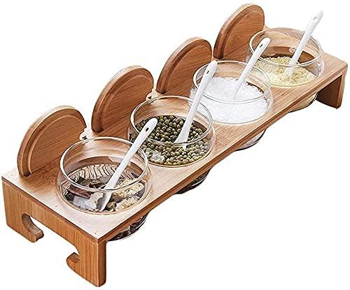 Glazen smaakstofdoos glazen pot met bamboe hoes en service lepel +antislip bamboe basis keukencontainer Kruiden potten…