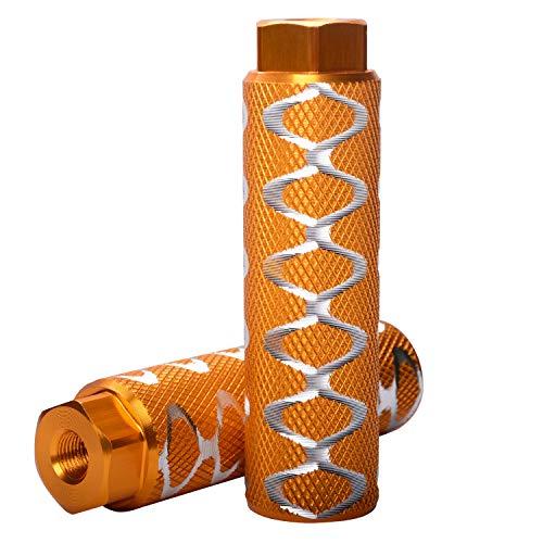 Helaryfreemear, 2 poggiapiedi da bicicletta, in lega di alluminio, per BMX, antiscivolo, per assi da 0,95 cm., Gold, 2