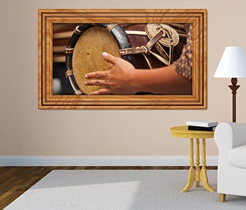 3D Wandtattoo Thai Trommel Musik Kunst Schlagzeug selbstklebend Wandbild Tattoo Wohnzimmer Wand Aufkleber 11M1004, Wandbild Größe F:ca. 97cmx57cm