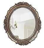 ACXZ Espejo de Pared artístico con Marco de PU Ovalado, Espejo Decorativo para tocador, Dormitorio, Sala de Estar, baño, Entrada, Espejo de tocador Colgante (40 × 34 cm / 78 × 68 cm)