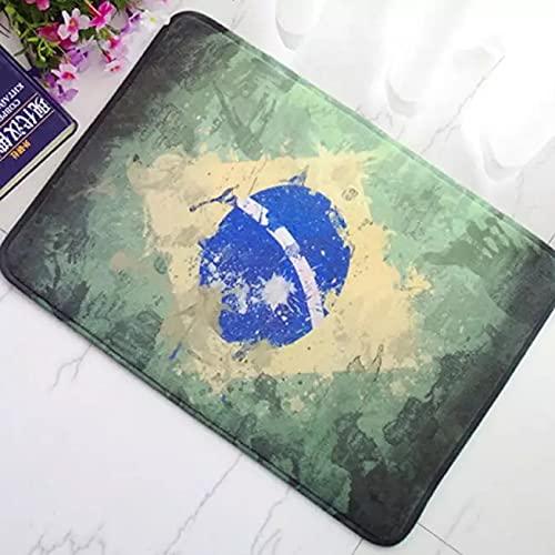 RQJOPE Alfombra de Puerta de Bienvenida Vintage Alfombra Apenada Bandera brasileña de Brasil decoración del hogar Felpudo Alfombra Alfombrillas de baño Decoración hogareña-40x60cm