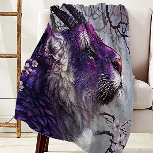 Manta Para Usa el tigre de cuernos púrpura en el bosque de flor de durazno Blanket 125 X 100CM