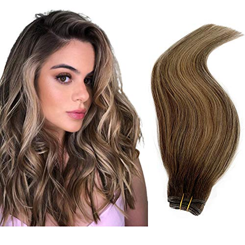 Sew in Weave Natural Straight Highlighted Blonde Human Hair Bundles 100g Double Weft Sew in Extensions Brown Roots and Blonde Balayage Hair Extensions 20 Inch