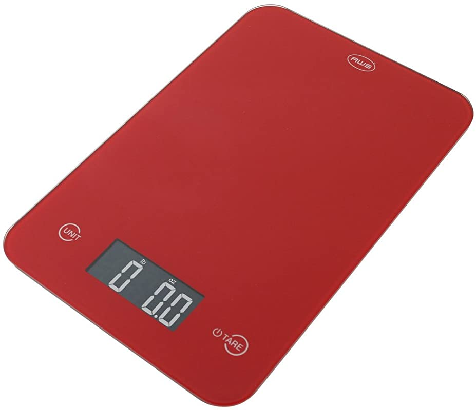 American Weigh Scales Onyx DigitaL Multifunction Kitchen Weight Scale 11lbs X 0 1oz Red