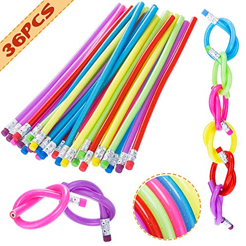36 PCS Flexible Bendy Pencils Bendable Pencil,Fun and Functional 7 Inch Long Bendable Writing Pencils for Classroom Gifts,Goodie Bag Fillers,Back to School Supplies