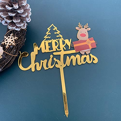 Christmas Cake Topper Merry Christmas Letter Reindeer Cake Topper Banner Acrylic Cake Decorations for for Cake Dish Decoration Party Supplies, Xmas Decor Party Decorations(reindeer)