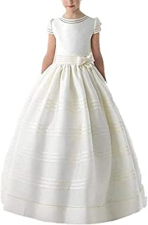 Kiss Rain Girls Flower Girl Dress Scoop Short Sleeves First Communion Dresses with Bow