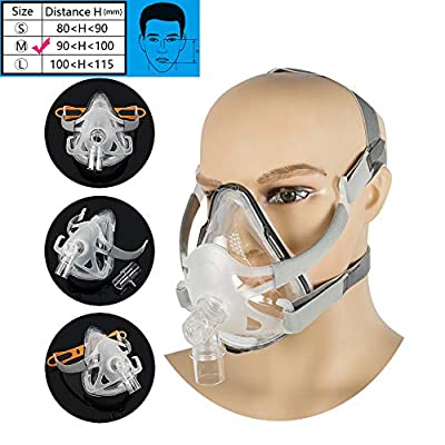 Denshine Adjustable Full Face Mask with Headgear for Sleep (L (100~115mm))