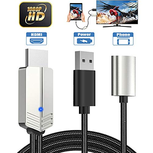 Teléfono a HDMI Cable, DIWUER Versión Mejorada 1080P Adaptador AV Digital Cable, Adaptador MHL a HDMI para iPhone Android iPad a TV/Projector/Monitor