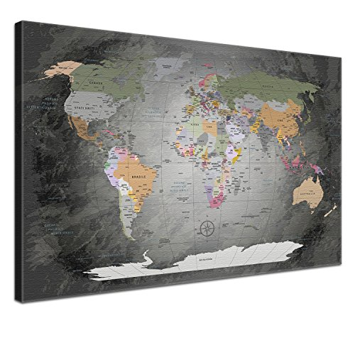 LanaKK Mappa del Mondo con Tappo di Sughero per Le Destinazioni Pinning, Mappa del Mondo Prezioso Grigio, Italiano, Stampa Artistica Bordo di Sughero in Grigio, 1 Pezzo, 100 X 70 Cm