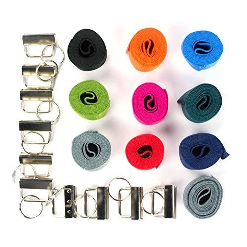 Marwotec Verbindungselemente 30mm Starterset 10x 1m Gurtband 10 Farben + 20 Rohlinge (Silber) zur Herstellung von Schlüsselbändern