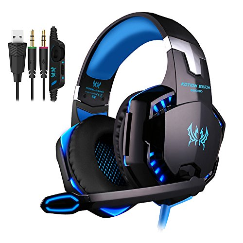 Preisvergleich Produktbild PUNICOK PC Gaming Headset G2000 Kopfhörer mit Mikrofon 3.5mm On Ear Surround Sound Ohrhörer und Lautstärkeregelung für PS4 Xbox one PC Laptop Tablet Mobile Phones Blau