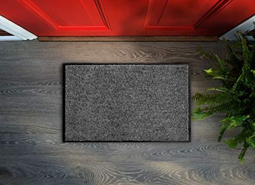 Flori - Felpudo lavable, antideslizante, fácil de limpiar, para interior y exterior (antracita, 40 x 60 cm)