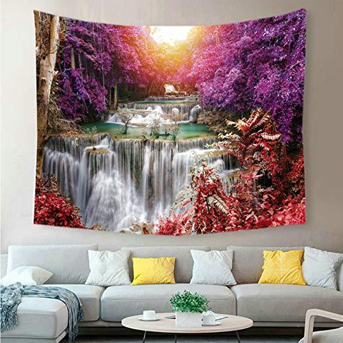 Aienid Teppich Wandbehang Flower Falls Lila Rot Tapisserie Size:130X150CM