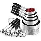 Measuring Cups : U-Taste 18/8 Stainless Steel Measuring Cups and Spoons Set of 10 Piece, Upgraded Thickness Handle(Black)