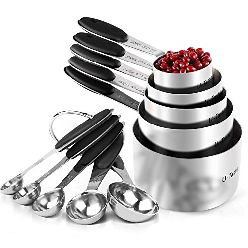 Measuring Cups : U-Taste 18/8 Stainless Steel Measuring Cups and Spoons Set of 10 Piece,...