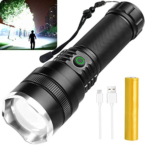 Rechargeable LED Flashlights High Lumens,10000 Lumen Super Bright Tactical Flashlights, 4 Modes Zoomable Flashlights with High Power Battery & USB Charging,Waterproof Flashlight for Camping Hiking