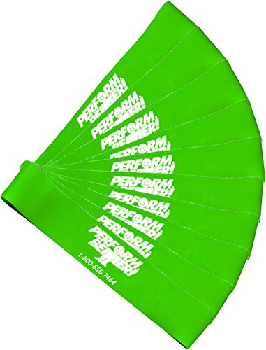 Perform Better Exercise Mini Band, Green-Medium - Set of 10 (Exercise Guide Included)