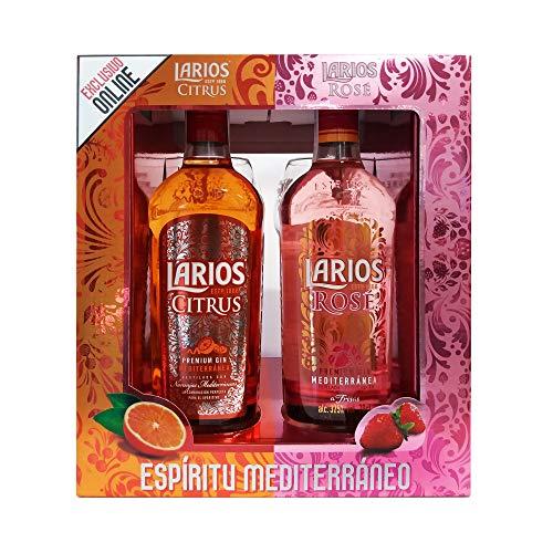 Larios Citrus + Rosé Ginebra Mediterránea + Regalo 2 Copas, 37.5% (2 X 700 ml)