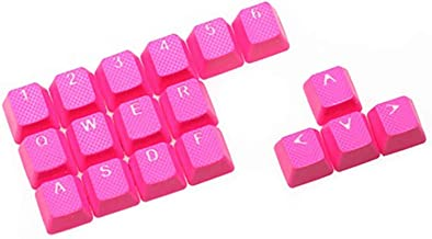 Rubber Gaming Backlit Keycaps Set - for Cherry MX Mechanical Keyboards Compatible OEM Include Key Puller (Neon Pink)