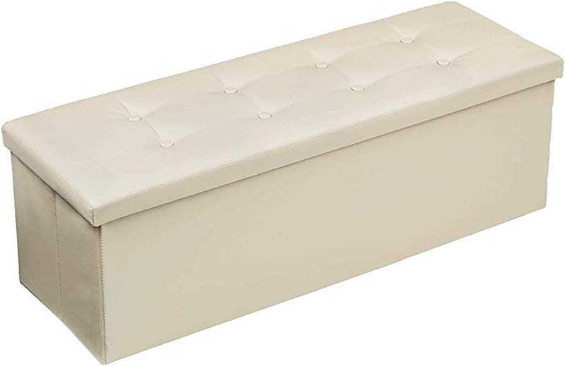 KingSo Ottoman Storage Foldable Faux Leather Footrest Seat Bench Bed Bench Toy Chest For Kids Storage Footrest Padded Seat For Entryway Bedroom 43inx15inx15in Beige
