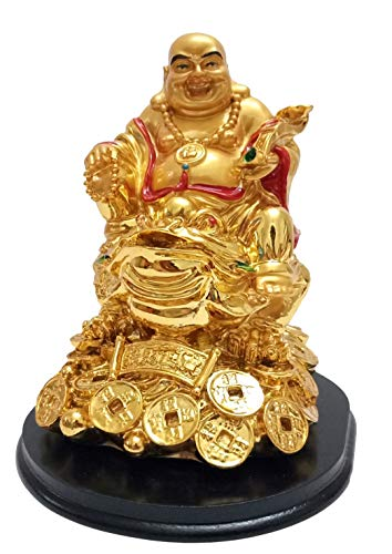 Indian Handicrafts Lucky Feng Shui Golden Laughing Buddha on Money Frog Money Toad Statue Figurine for Wealth and Good Luck