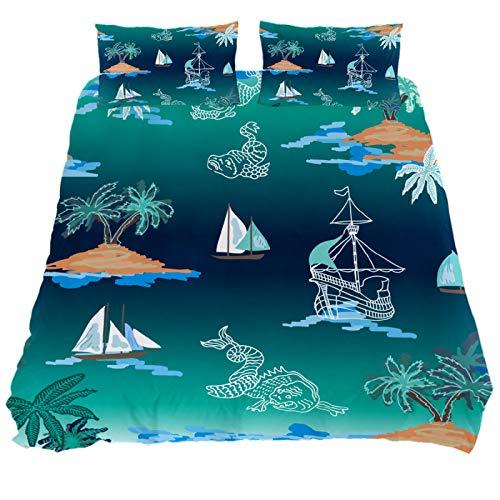 HULKBIDBV 3 Pieces Sea Monsters Blue Lagoon Sailing Duvet Cover Set (1 Duvet Cover + 2 Pillowcases) Custom Design Bedding Set Soft Fiber Bedding Sets, New Twin.