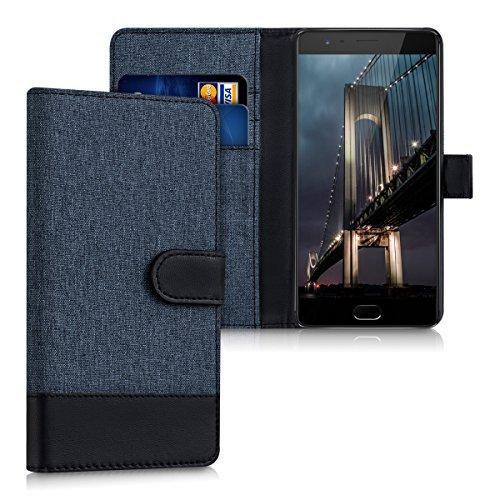 kwmobile Wallet Hülle kompatibel mit OnePlus 3 / 3T - Hülle Kunstleder mit Kartenfächern Stand in Dunkelblau Schwarz