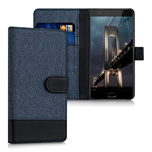 kwmobile Wallet Case for OnePlus 3 / 3T - Fabric and PU Leather Flip Cover with Card Slots and Stand - Dark Blue/Black